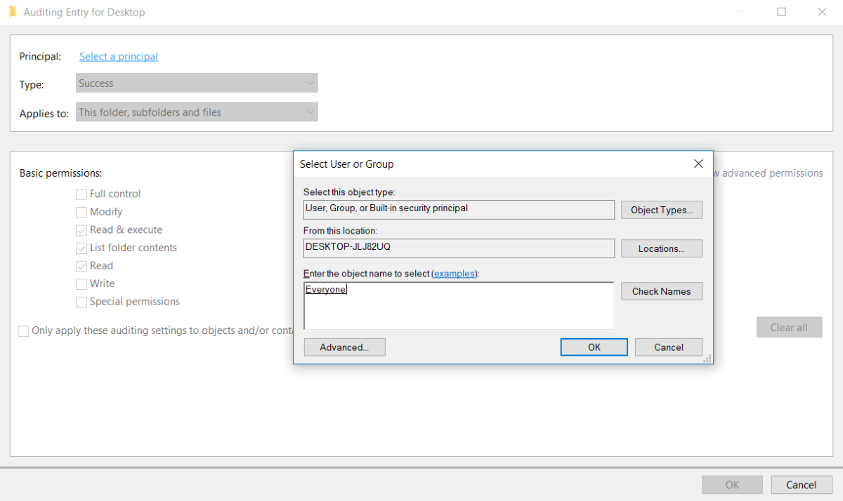 Auditing File & Folder Access on Windows with Local Security